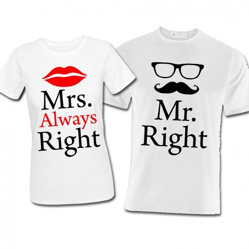 """Estremamente shirt di coppia lui e lei """"Mr. Right + Mrs. Always Right"""", idea  DL83"""