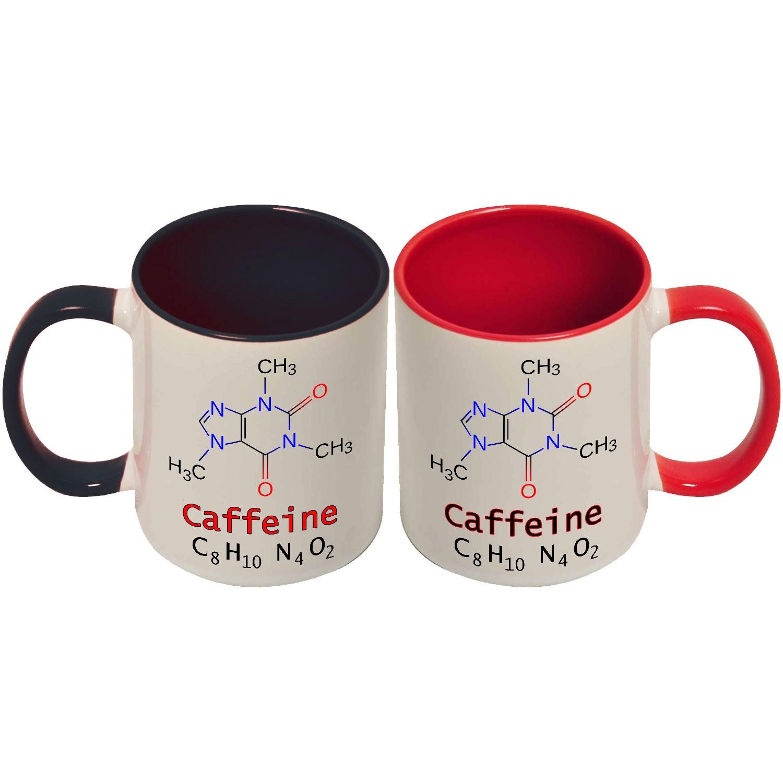 """Top Set 2 tazze di coppia """"Formula chimica della caffeina"""", divertente  PY28"""