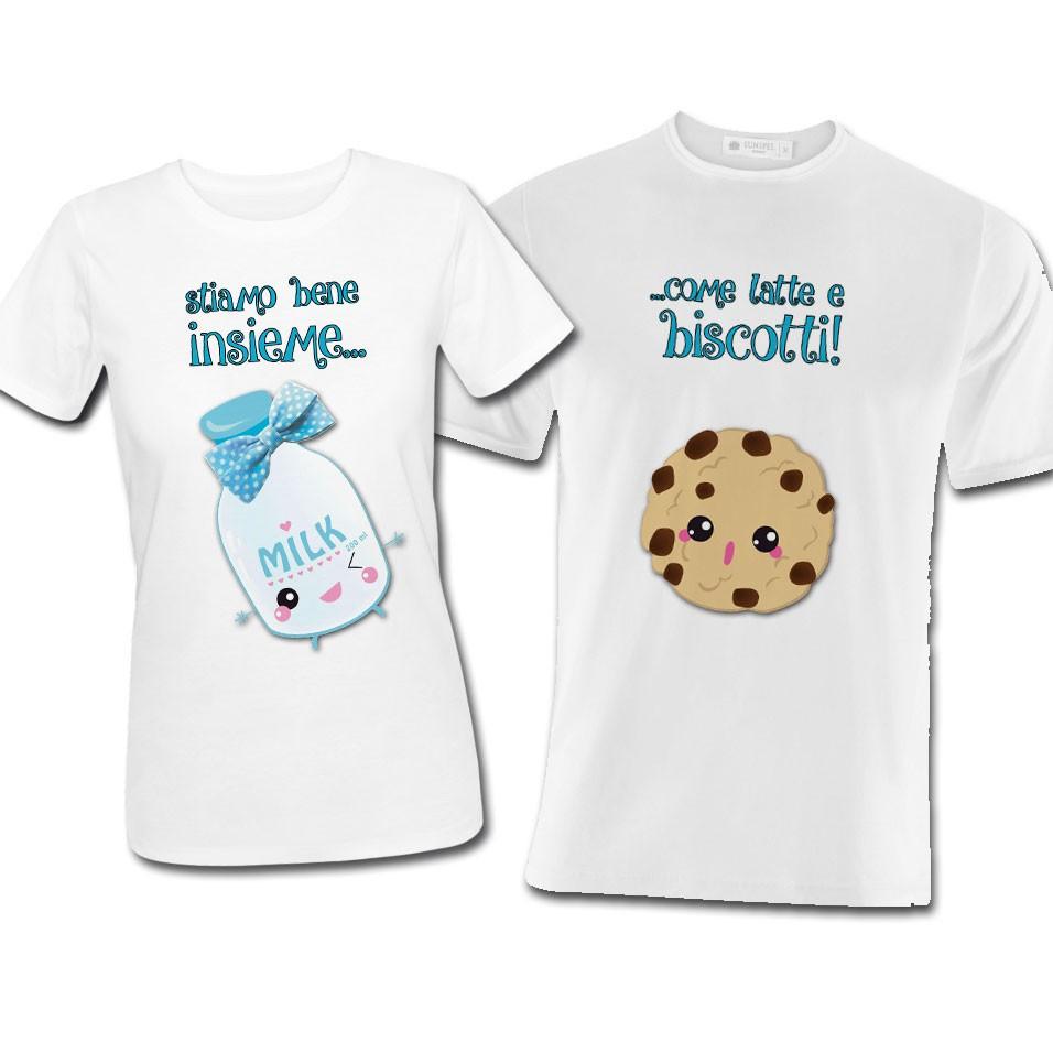 """Top T-shirt di coppia lui e lei """"Stiamo bene insieme come latte e  CD12"""