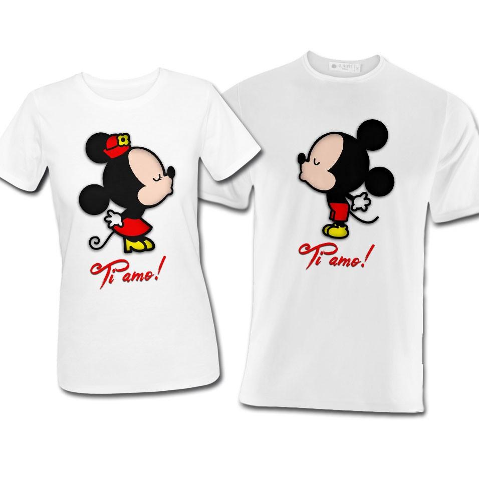 Top T-shirt di coppia lui e lei Topolino e Minnie inspired, idea  BU36