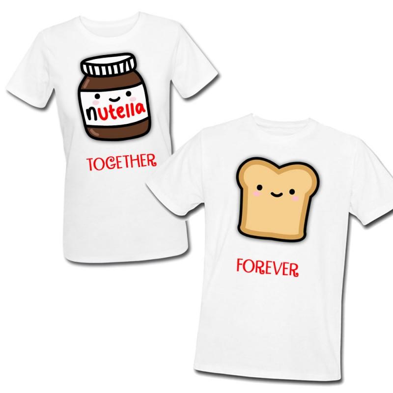 T Shirt Di Coppia Lui E Lei Together Forever Nutella E Pan Carre