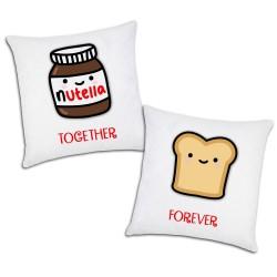 Federe Per Cuscini San Valentino.Coppia Di Federe Per Cuscini Together Forever Nutella E Pan Carre Idea Regalo Per San Valentino