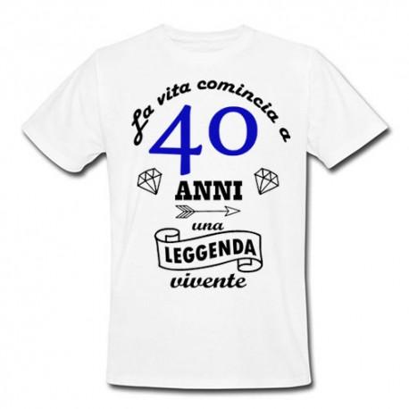 T Shirt Uomo La Vita Comincia A 40 Anni Idea Regalo Per Il