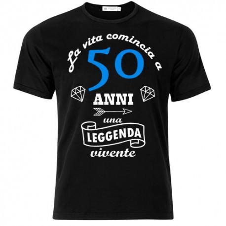 T Shirt Uomo La Vita Comincia A 50 Anni Idea Regalo Per Il Compleanno