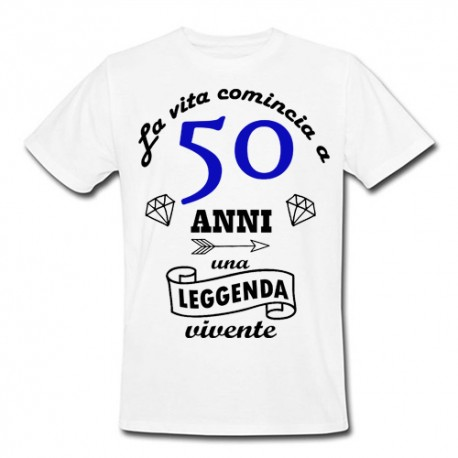 T Shirt Uomo La Vita Comincia A 50 Anni Idea Regalo Per Il Compleanno Bianca
