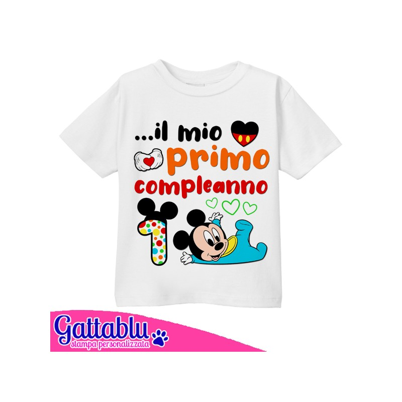 Numero 1 Topolino Baby Personaggio Cartone Animato T-Shirt Bimbo o Bimba Il Mio Primo Compleanno Idea Regalo per Festa!