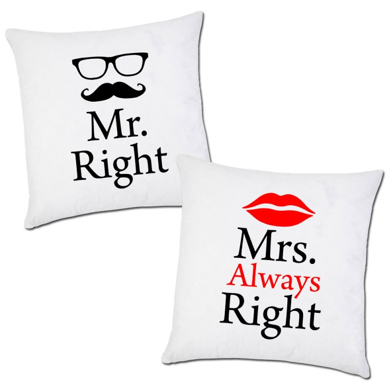 Federe Cuscini San Valentino.Pair Of Pillow Cases Mr Right Mrs Always Right Valentine S